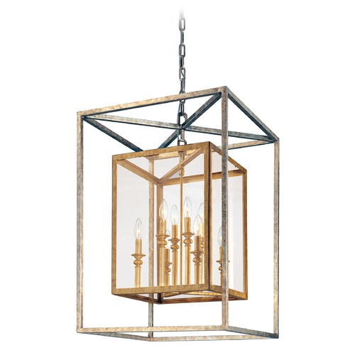 Troy Lighting Modern Pendant Light with Clear Glass in Gold Silver Leaf Finish F9998GSL