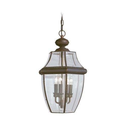 Sea Gull Lighting Outdoor Hanging Light with Clear Glass in Antique Bronze Finish 6039-71