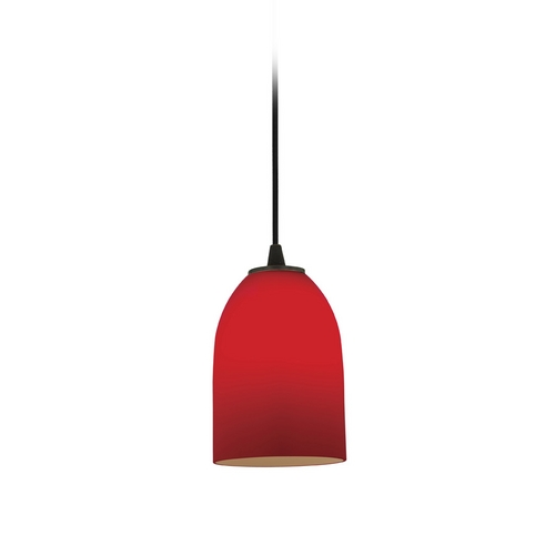 Access Lighting Modern Mini-Pendant Light with Red Glass 28018-2C-ORB/RED