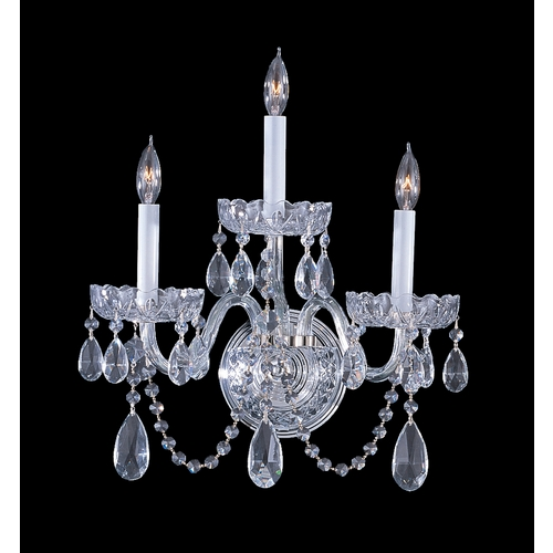 Crystorama Lighting Crystal Sconce Wall Light in Polished Chrome Finish 1033-CH-CL-SAQ