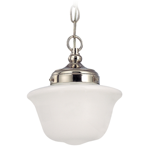 Design Classics Lighting 8-Inch Polished Nickel Schoolhouse Mini-Pendant Light with Chain FA4-15 / GD8 / A-15