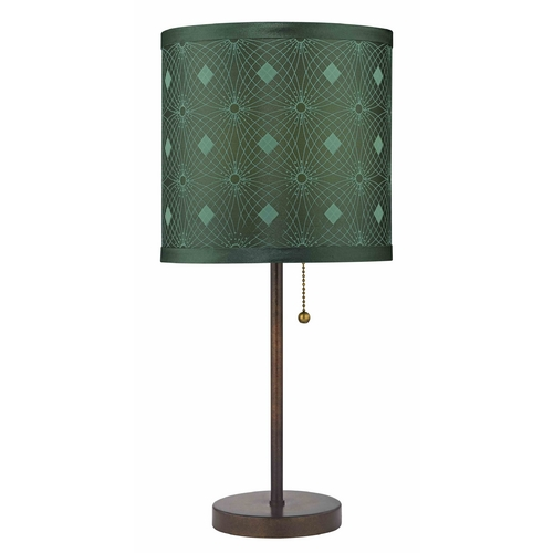 Design Classics Lighting Bronze Pull-Chain Table Lamp with Green Patterned Drum Shade 1900-604 SH9477