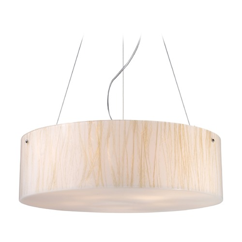 Elk Lighting Elk Lighting Modern Organics Polished Chrome LED Pendant Light with Drum Shade 19033/5-LED