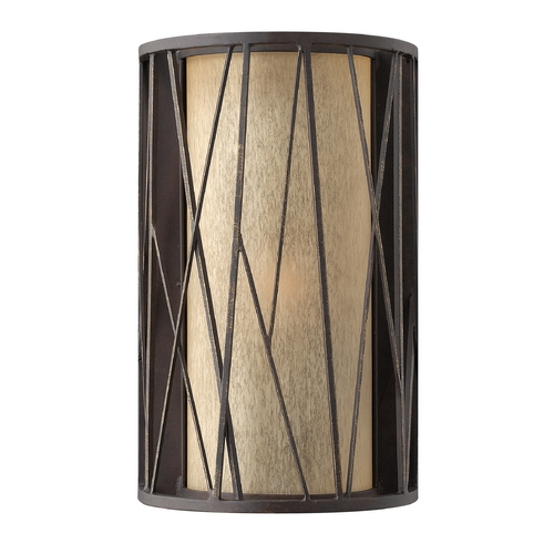 Frederick Ramond Sconce Wall Light with Amber Glass in Oil Rubbed Bronze Finish FR41612ORB