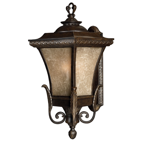 Hinkley Lighting Outdoor Wall Light with Amber Glass in Regency Bronze Finish 1935RB-GU24
