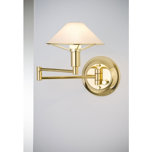 Holtkoetter Lighting Holtkoetter Modern Swing Arm Lamp with White Glass in Polished Brass Finish 9426 PB SW