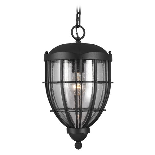 Feiss Lighting Seeded Glass Outdoor Hanging Light Black Feiss Lighting OL9811TXB