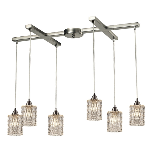 Elk Lighting Crystal Multi-Light Pendant Light with Clear Glass and 6-Lights 10343/6