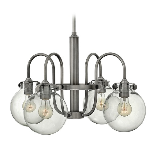 Hinkley Lighting Hinkley Congress 4-Light Chandelier with Clear Globe Glass in Antique Nickel 3044AN