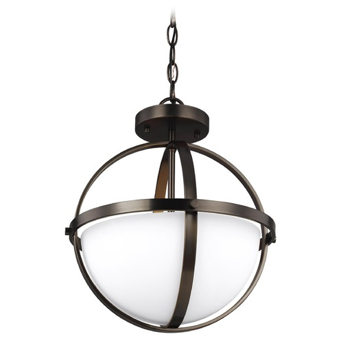 Sea Gull Lighting Sea Gull Lighting Alturas Brushed Oil Rubbed Bronze Pendant Light with Bowl / Dome Shade 7724602-778