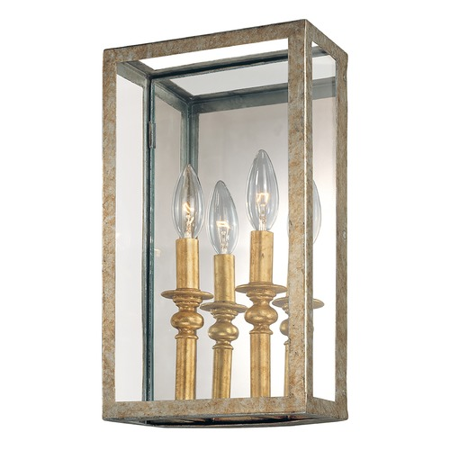 Troy Lighting Modern Sconce Wall Light with Clear Glass in Gold Silver Leaf Finish B9992GSL
