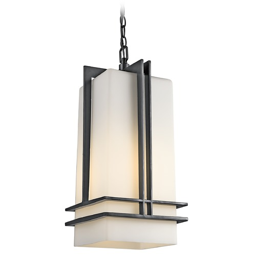 Kichler Lighting Kichler Modern Outdoor Hanging Light with White Glass in Black Finish 49205BKFL