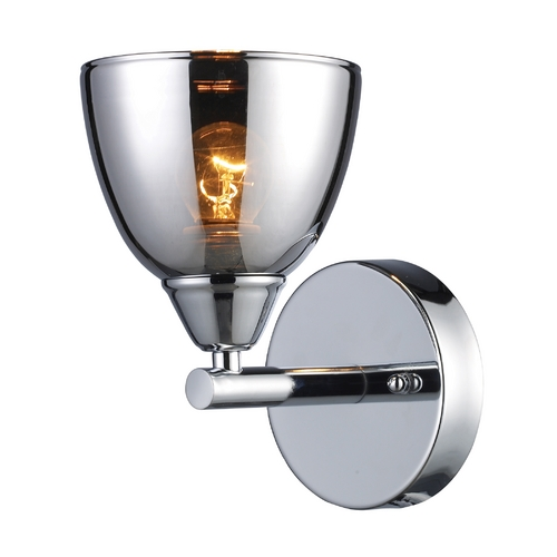 Elk Lighting Modern Sconce with Chrome Glass in Polished Chrome Finish 10070/1