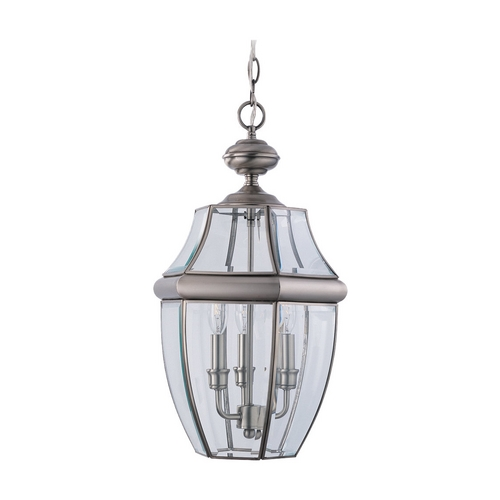Sea Gull Lighting Outdoor Hanging Light with Clear Glass in Antique Brushed Nickel Finish 6039-965
