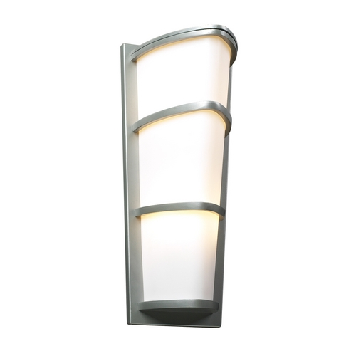 PLC Lighting Modern Outdoor Wall Light with White Glass in Silver Finish 31915 SL