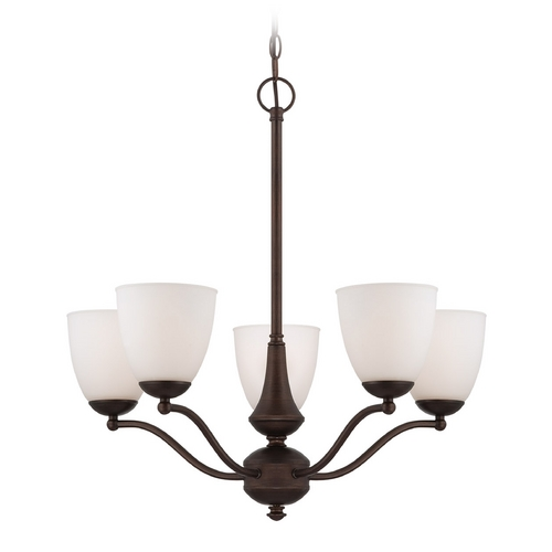 Nuvo Lighting Chandelier with White Glass in Prairie Bronze Finish 60/5135