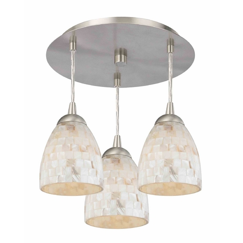 Design Classics Lighting 3-Light Semi-Flush Ceiling Light with Mosaic Bell Glass - Nickel Finish 579-09 GL1026MB