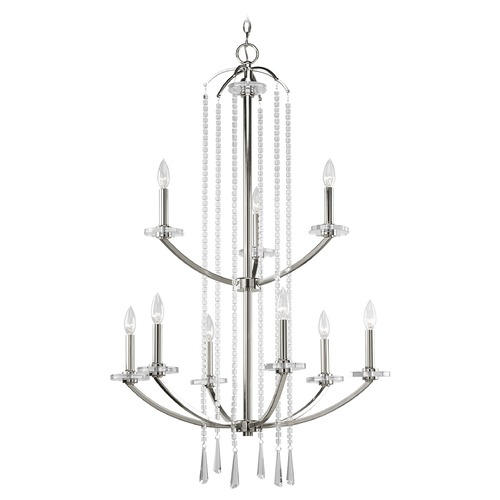 Progress Lighting Progress Crystal Chandelier in Polished Nickel Finish P4538-104