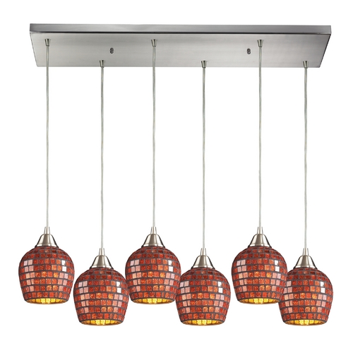 Elk Lighting Modern Multi-Light Pendant Light with Red Glass and 6-Lights 528-6RC-CPR