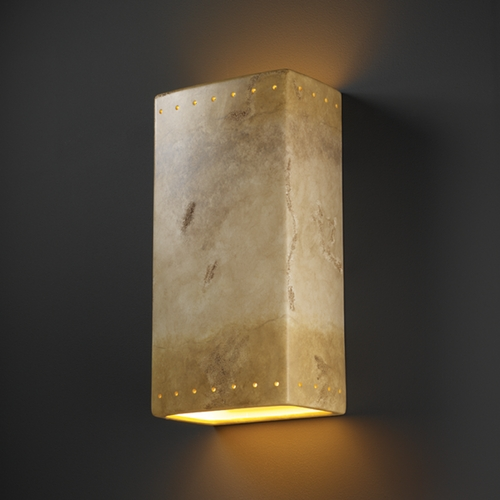 Justice Design Group Outdoor Wall Light in Greco Travertine Finish CER-1185W-TRAG