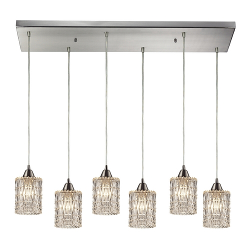 Elk Lighting Crystal Multi-Light Pendant Light with Clear Glass and 6-Lights 10343/6RC