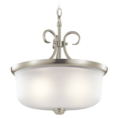 Kichler Lighting Kichler Lighting Bixler Brushed Nickel Pendant Light with Drum Shade 43942NI