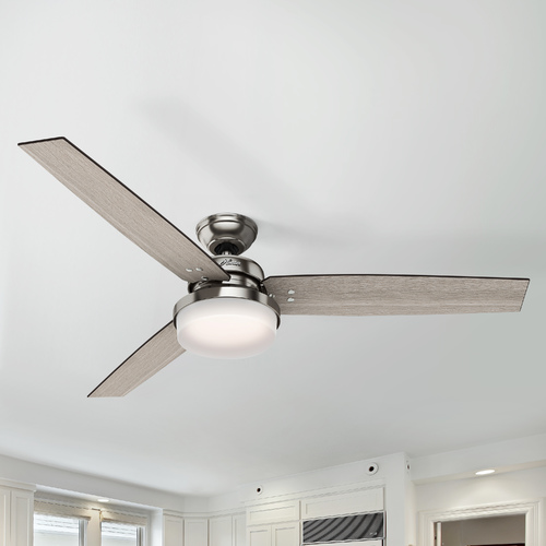 Hunter Fan Company Hunter 60-Inch Brushed Nickel LED Ceiling Fan with Light with Hand-Held Remote 59459
