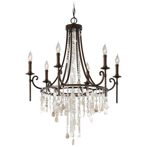 Feiss Lighting Vintage Bronze Crystal Chandelier Light with Cascading Crystals F2660/6HTBZ