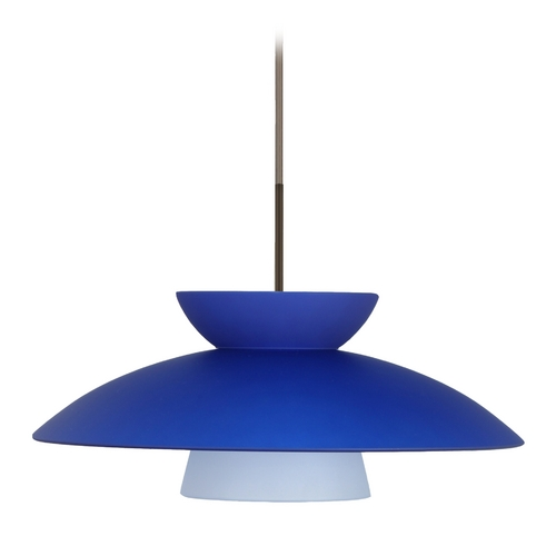 Besa Lighting Modern Pendant Light Blue Glass Bronze by Besa Lighting 1JT-451323-BR