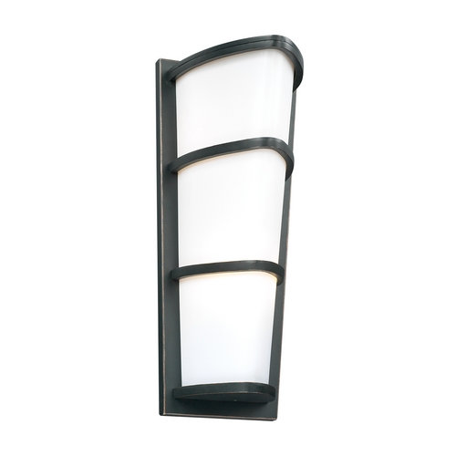 PLC Lighting Modern Outdoor Wall Light with White Glass in Oil Rubbed Bronze Finish 31915 ORB