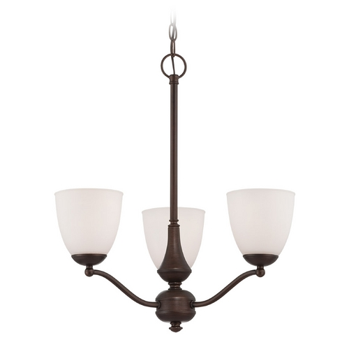 Nuvo Lighting Chandelier with White Glass in Prairie Bronze Finish 60/5136