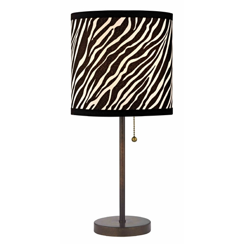 Design Classics Lighting Bronze Pull-Chain Table Lamp with Zebra Drum Shade 1900-604 SH9483