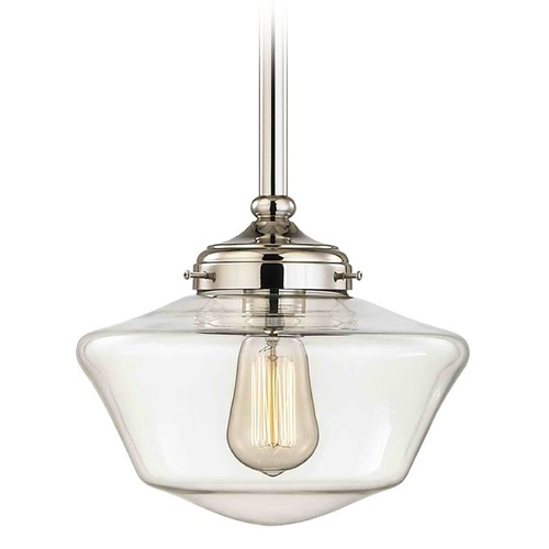 Design Classics Lighting 10-Inch Polished Nickel Clear Glass Schoolhouse Mini-Pendant Light FA4-15 / GA10-CL