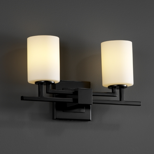 Justice Design Group Justice Design Group Fusion Collection Bathroom Light FSN-8702-10-OPAL-MBLK