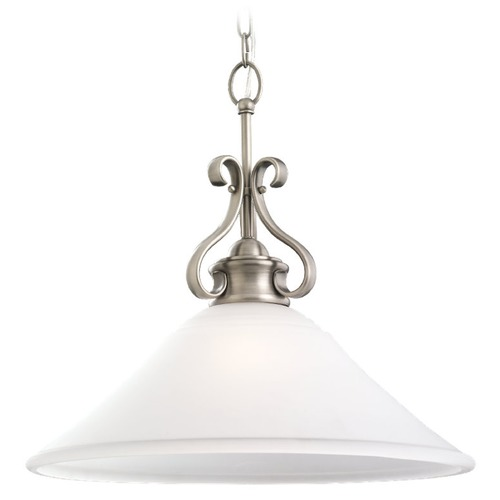 Sea Gull Lighting Sea Gull Lighting Parkview Antique Brushed Nickel Pendant Light with Coolie Shade 65380BLE-965