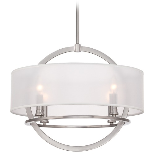 Quoizel Lighting Quoizel Portland Brushed Nickel Pendant Light with Drum Shade PTD2820BN