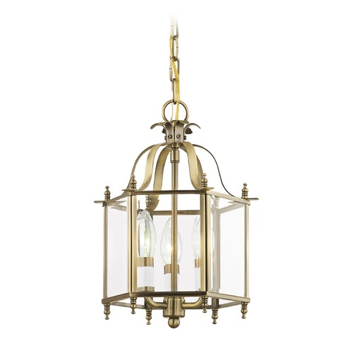 Livex Lighting Livex Lighting Livingston Antique Brass Pendant Light with Hexagon Shade 4403-01