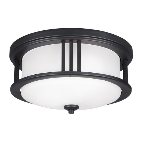 Sea Gull Lighting Sea Gull Crowell Black Close To Ceiling Light 7847902-12