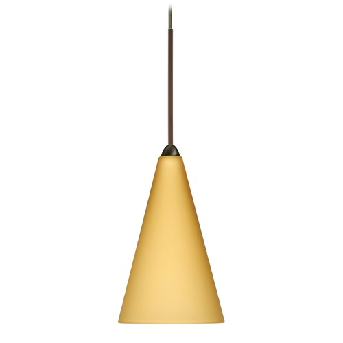 Besa Lighting Besa Lighting Kiki Bronze Mini-Pendant Light with Conical Shade 1XT-1382VM-BR