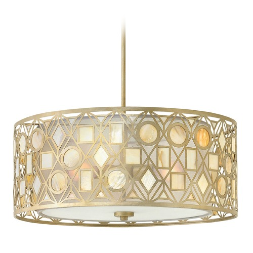 Hinkley Lighting Hinkley Lighting Isla Silver Leaf Pendant Light with Drum Shade FR37123SLF