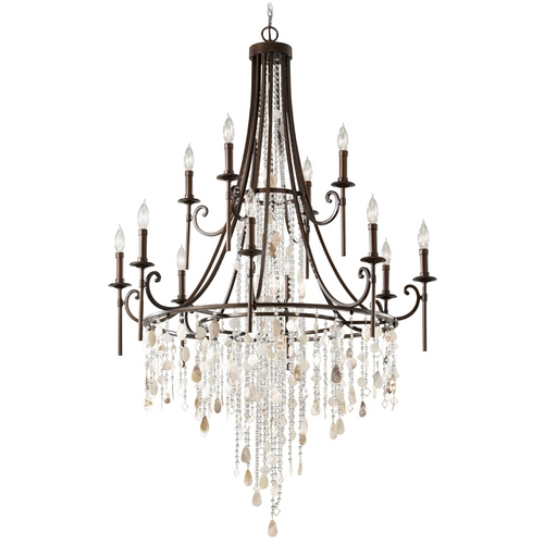 Feiss Lighting Feiss 12-Light Crystal Chandelier in Bronze F2661/8+4HTBZ