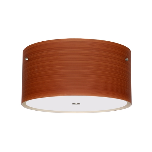Besa Lighting Modern Flushmount Light Brown Glass Satin Nickel by Besa Lighting 1KM-4008CH-SN