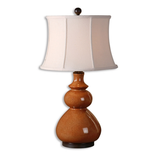 Uttermost Lighting Table Lamp with White Shade in Crackled Tomato Red Finish 26999