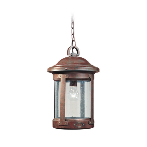 Sea Gull Lighting Outdoor Hanging Light with Clear Glass in Weathered Copper Finish 6041-44