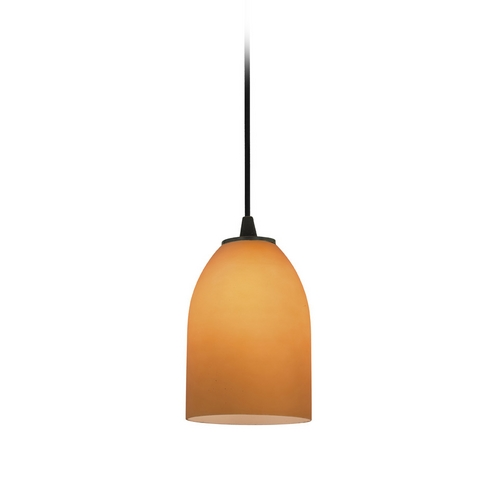Access Lighting Modern Mini-Pendant Light with Amber Glass 28018-2C-ORB/AMB