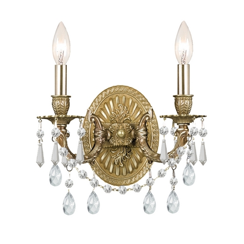 Crystorama Lighting Crystal Sconce Wall Light in Aged Brass Finish 5522-AG-CL-MWP