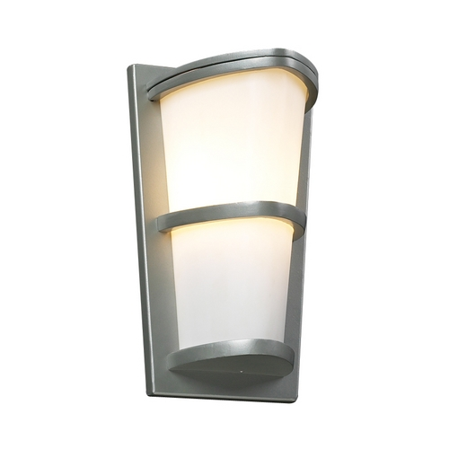PLC Lighting Modern Outdoor Wall Light with White Glass in Silver Finish 31912 SL