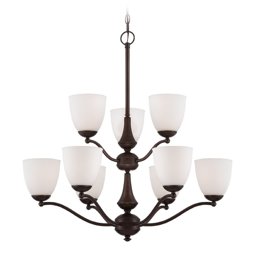 Nuvo Lighting Chandelier with White Glass in Prairie Bronze Finish 60/5139