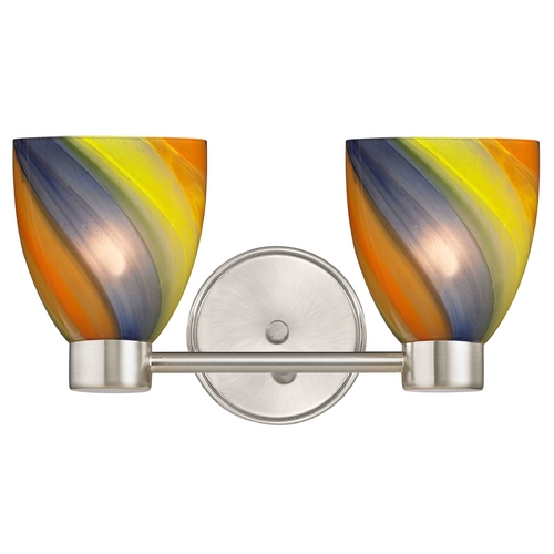 Design Classics Lighting Aon Fuse Contemporary Satin Nickel Bathroom Light with Bell Glass 1802-09 GL1015MB