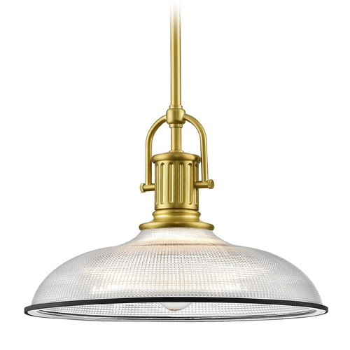 Design Classics Lighting Farmhouse Industrial Pendant Light Prismatic Glass Black / Brass 14.38-Inch Wide 1764-12 G1781-FC R1781-07